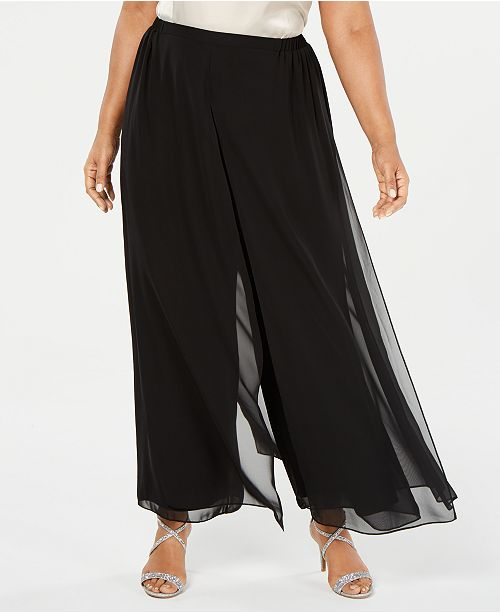 Alex Evenings Plus Size Flowy Wide-Leg Pants