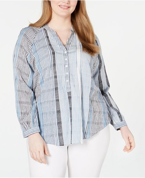 Lucky Brand Plus Size Striped Pleated Top