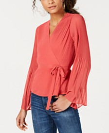 Bar III Pleated Wrap Blouse, Created for Macy's