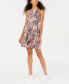 Bar III Printed Halter-Neck Fit & Flare Dress, Created for Macy's