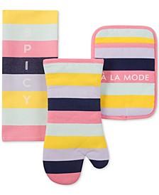 Ice Cream Stripe Kitchen Towel, Oven Mitt & Pan Holder 3-Pc. Set