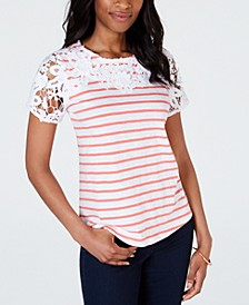 Petite Embroidered Striped Top, Created for Macy's
