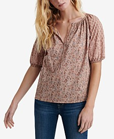 Cotton Mixed-Media Tie-Neck Top