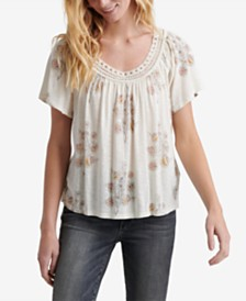 Lucky Brand Floral-Print Crochet-Neck Top