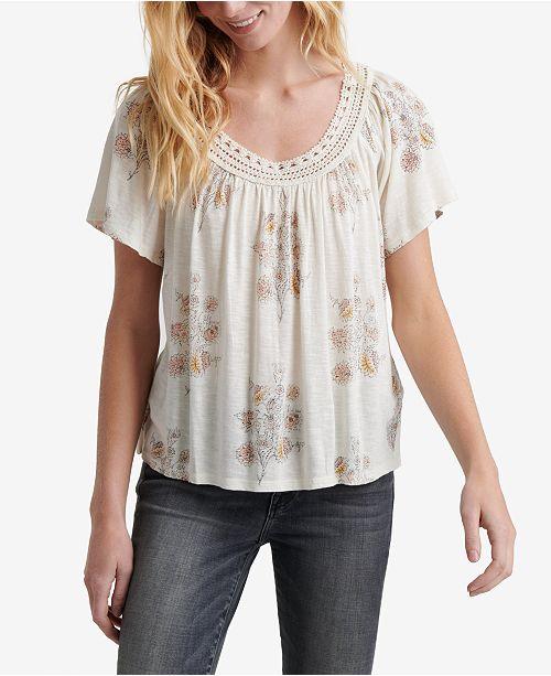 Lucky Brand Floral-Print Crochet-Neck Top