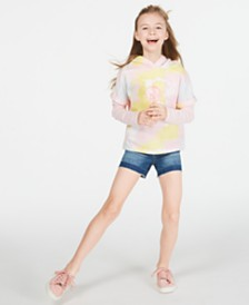 Epic Threads Big Girls Tie-Dyed Hoodie & Denim Shorts, Created for Macy's