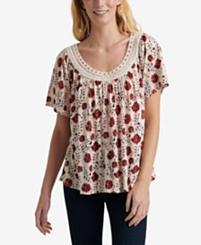 Lucky Brand Crochet-Neck Printed Top