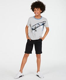 Epic Threads Big Boys Let's Go T-Shirt & Twill Moto Shorts, Created for Macy's