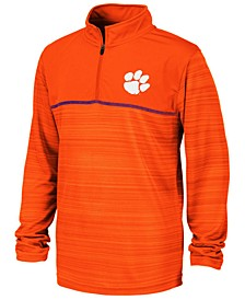 Big Boys Clemson Tigers Striped Mesh Quarter-Zip Pullover