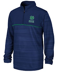 Colosseum Big Boys Notre Dame Fighting Irish Striped Mesh Quarter-Zip Pullover