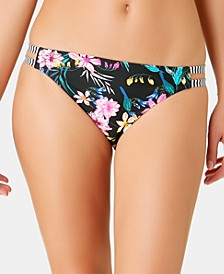 Juniors' Burgandy Wildflower Printed Tab-Side Hipster Bottoms, Created for Macy's