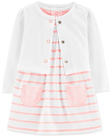 Carter's Baby Girls 2-Pc. Striped Bodysuit Dress & Cardigan Set