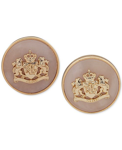 Lauren Ralph Lauren Stone & Crest Stud Earrings