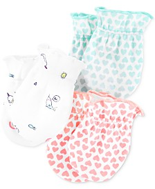 Carter's Baby Girls Or Boys 3-Pack Printed Mittens Set