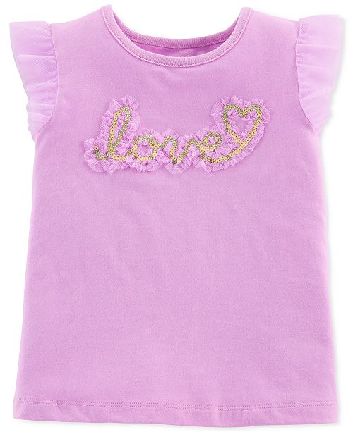 Carter's Toddler Girls Flutter-Sleeve Graphic Top