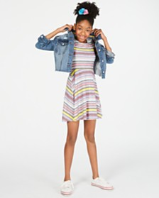 Epic Threads Big Girls Striped Dress & Denim Jacket, Created for Macy's