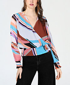 Bar III Printed Smocked-Waist Surplice Top, Created for Macy's