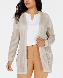 Charter Club Plus Size Metallic Cardigan, Created for Macy's