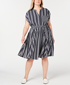 Charter Club Plus Size Striped Dress, Created for Macy's