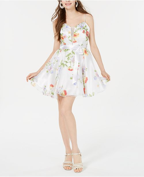 Teeze Me Juniors' Floral-Print Moire Fit & Flare Dress