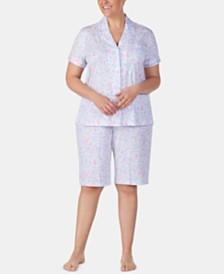 Lauren Ralph Lauren Plus Size Knit Cotton Bermuda Shorts Pajama Set