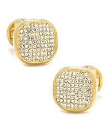 Stainless Steel White Pave Crystal Cufflinks