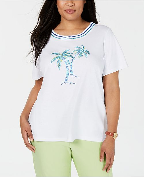 8eea4736c9 Alfred Dunner Plus Size Waikiki Embroidered T-Shirt   Reviews - Tops ...