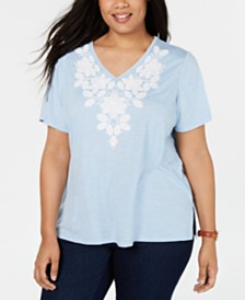 Alfred Dunner Plus Size Monterey Embroidered T-Shirt