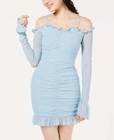 Material Girl Juniors' Off-The-Shoulder Ruched Dress, Created for Macy's