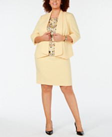 Kasper Plus Size Cuff-Sleeve Wide-Lapel Crepe Jacket, Cap-Sleeve Pleat-Neck Blouse & Crepe Skirt