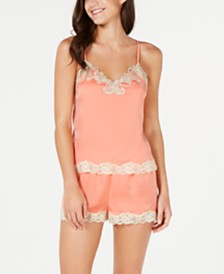 I.N.C. Antique-Look Lace Woven Top and Pajama Shorts Set, Created for Macy's