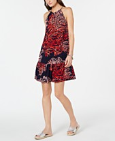 ee9e73a746eed MICHAEL Michael Kors Printed Chain-Neck Halter Dress