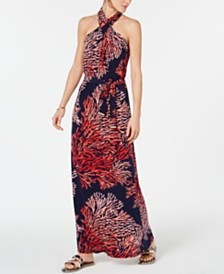 MICHAEL Michael Kors Printed Tie-Neck Halter Maxi Dress