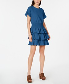 MICHAEL Michael Kors Textured Tiered-Ruffle Dress