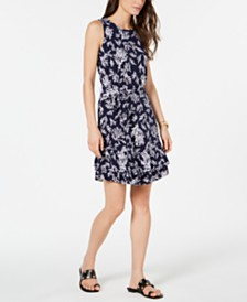 MICHAEL Michael Kors Reef-Print Ruffle-Hem Dress, Regular & Petite