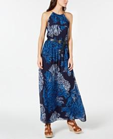 MICHAEL Michael Kors Tahitian Reef Belted Halter Maxi Dress, Regular & Petite Sizes