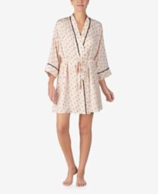 DKNY Satin Printed Wrap Robe