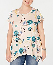 Plus Size Floral-Print Handkerchief-Hem Top, Created for Macy's