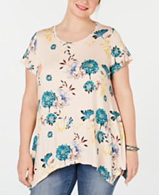 Style & Co Plus Size Floral-Print Handkerchief-Hem Top, Created for Macy's