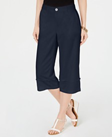 Style & Co Frayed Wide-Leg Capri Pants, Created for Macy's