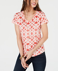 Style & Co Petite Cotton Printed T-Shirt, Created for Macy's