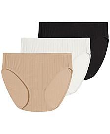 Women's 3-Pk. Supersoft Breathe Drop-Needle Knit French-Cut Brief Underwear 2371