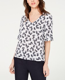 Nine West Pineapple-Print Ruffled-Cuff Top