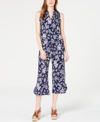 Printed Ruffled Cropped Pants, Regular & Petite Sizes