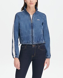 Levi's® Striped-Sleeve Cropped Bomber Jacket