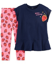 Carter's Little & Big Girls 2-Pc. Peplum Tunic & Printed Leggings Set