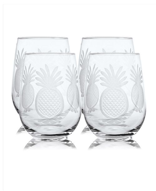 Rolf Glass Pineapple Stemless 17Oz - Set Of 4 Glasses