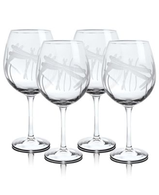 Dragonfly Balloon Wine 18Oz - Set Of 4 Glasses