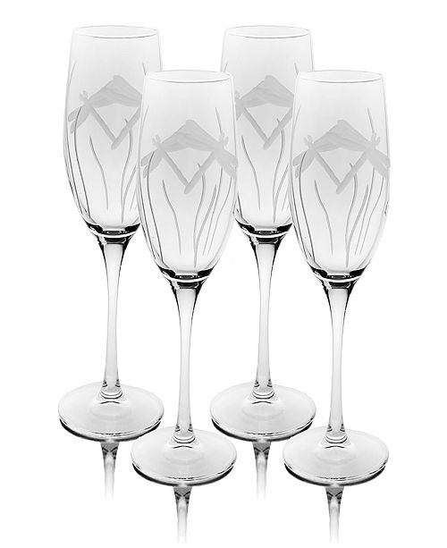 Rolf Glass Dragonfly Champagne Flute 8Oz - Set Of 4 Glasses