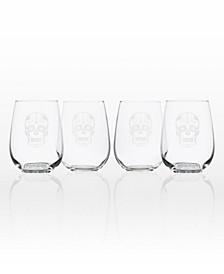 Sugar Skull Stemless 17Oz - Set Of 4 Glasses